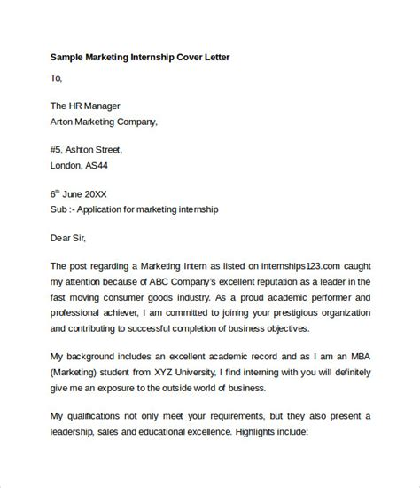 Cover Letter Template Internship Marketing Cover Letter Template 8 Free Documents In Word