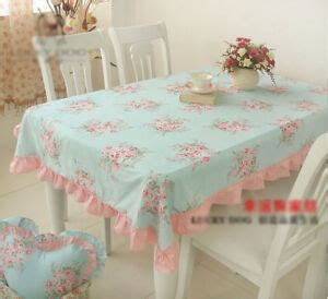 shabby chic cottage floral table cloth blue  pink  ruffles cotton