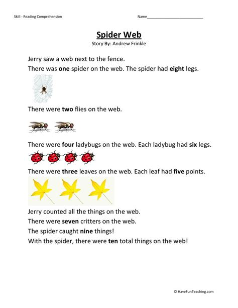 2nd Grade Free Reading Worksheets by Reading Comprehension Worksheet Spider Web