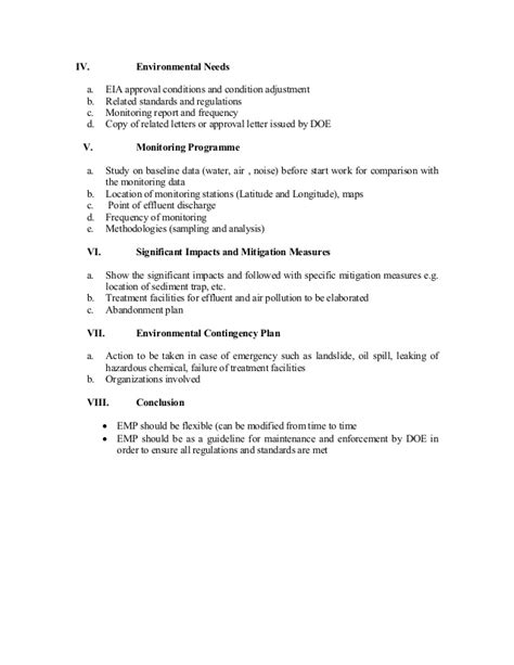environmental sustainability report template environmental management plan report format