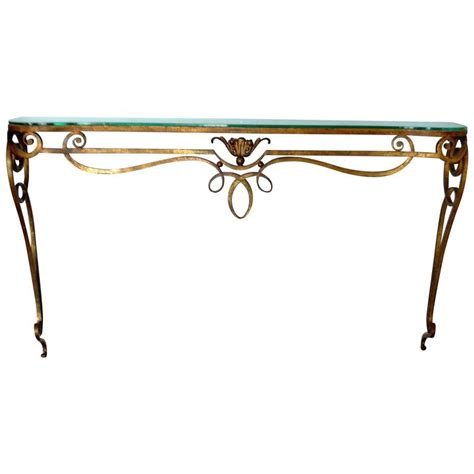 rod iron sofa table wrought iron gilded console table with glass top at 1stdibs