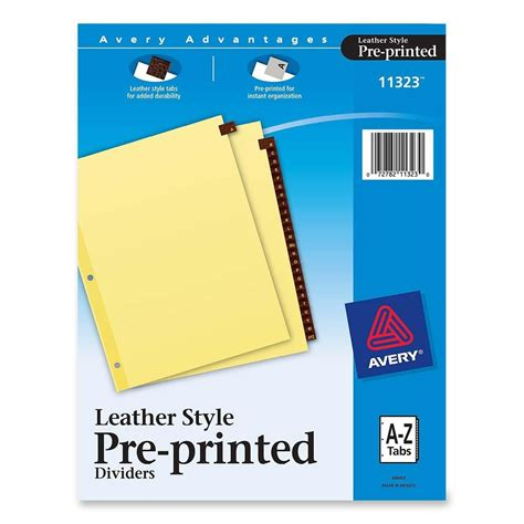 Cal 95 Per Isi 6 Tab avery leather tab dividers a z 25 tabs st ld products