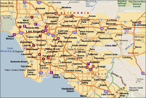 los angeles on map of usa road map of los angeles city los angeles city road map