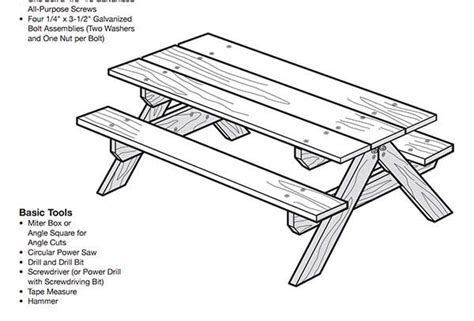 how to draw a picnic table table picnic bois plan