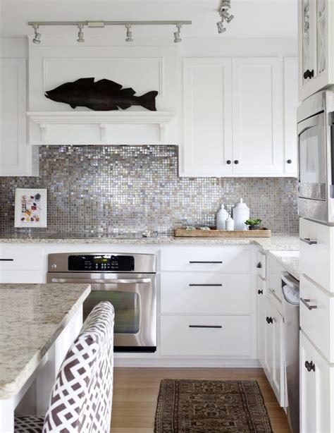 mosaic tile backsplash white cabinets stunning silver mosaic backsplash love the white