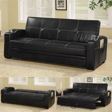 pop up couch faux soft leather sofa bed sleeper lounger w storage cup