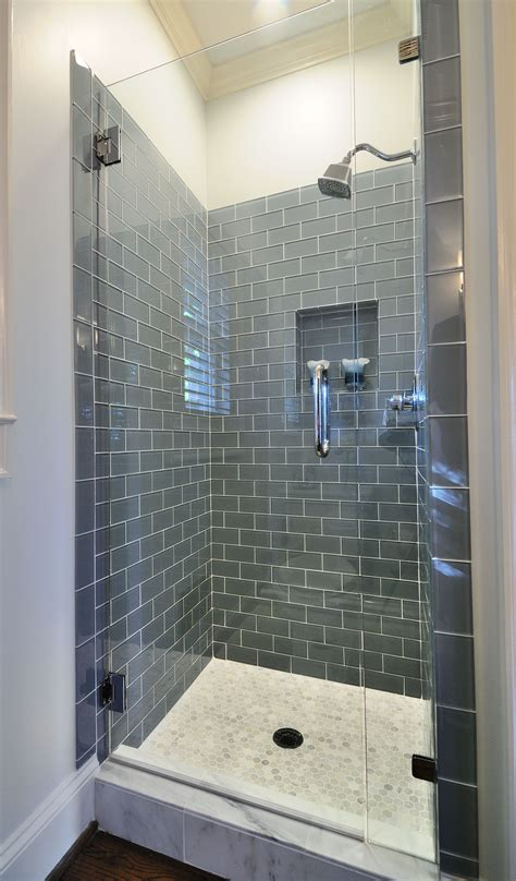 ice gray glass subway tile tile and flooring bathroom