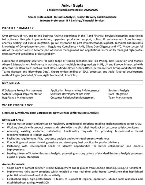 business analyst sle resume for freshers ba resume sles best resume gallery