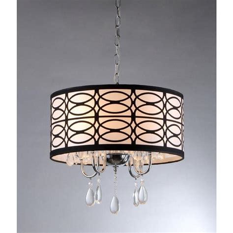 Fabric Chandelier L Shades Warehouse Of Olga 4 Light Chrome Ceiling Chandelier With Fabric Shade Rl4825