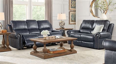 Living Room With Blue Leather Sofa Frederickburg Blue 5 Pc Leather Living Room Reclining