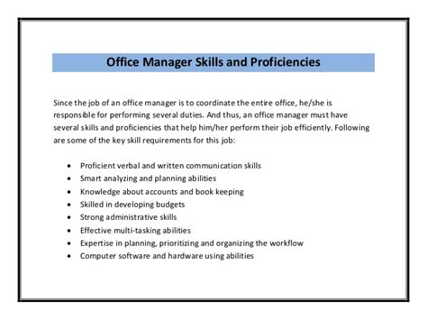 Office Manager Duties Resume by Office Manager Resume Sle Pdf