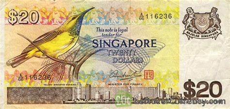 20 Singapore Seri Yellow Breasted Bird 20 singapore dollars bird series exchange yours for