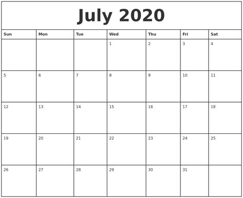 printable monthly calendars with pictures july 2020 printable monthly calendar