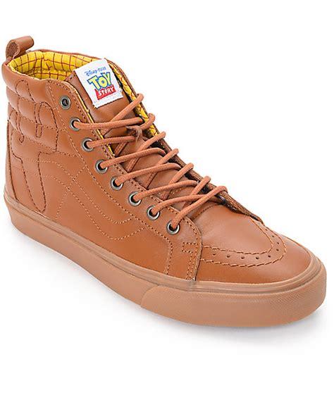 Vans Sk 8 Hi Story Woody Original story x vans sk8 hi woody brown leather shoes zumiez