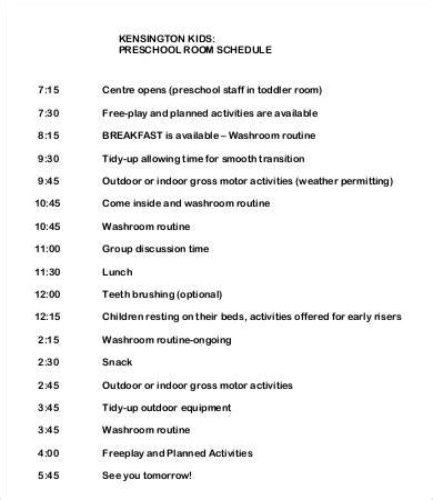 preschool schedule template preschool schedule template 7 free word pdf documents