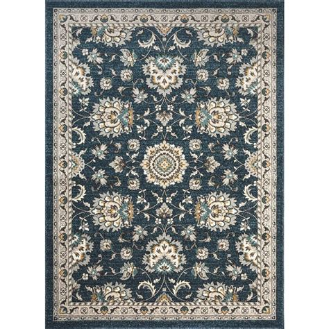 Area Rugs Home Depot 5x8 Tayse Rugs Kensington Navy 5 Ft 3 In X 7 Ft 3 In Indoor Area Rug Kns1107 5x8 The Home Depot