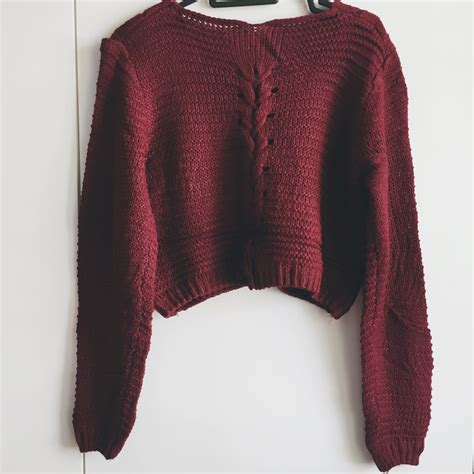 crop knit sweater lace up back cropped knit sweater maroon 183 megoosta