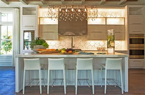 Cottage Kitchen Islands Linear Crystal Chandelier Contemporary Kitchen