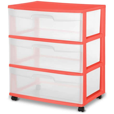 sterilite 3 drawer wide cart white walmart