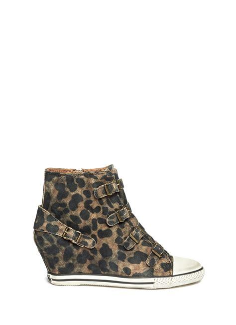 leopard wedge sneakers ash eagle leopard suede wedge sneakers in animal animal