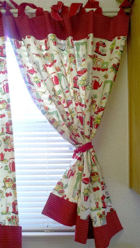 retro kitchen curtains and valances retro kitchen tools curtains red set of 2 by katherinemck