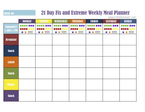 21 day fix template 21 day fix meal plan tools get fit lose weight feel