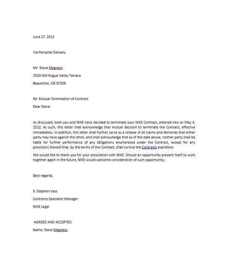 cancellation letter of intent 35 termination letter sles lease employee