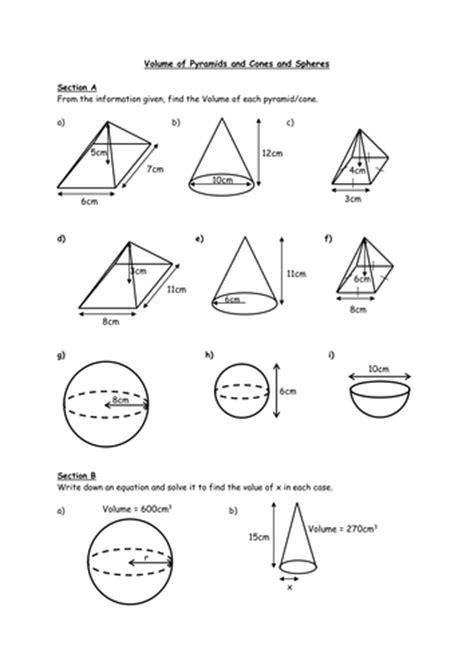 printable math worksheets volume cone volume of sphere cones by ryan80 teaching resources tes