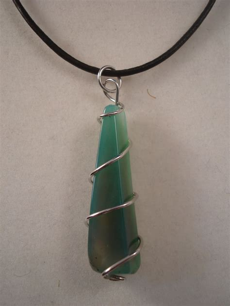 mineral green genuine pyramid pendant leather cord