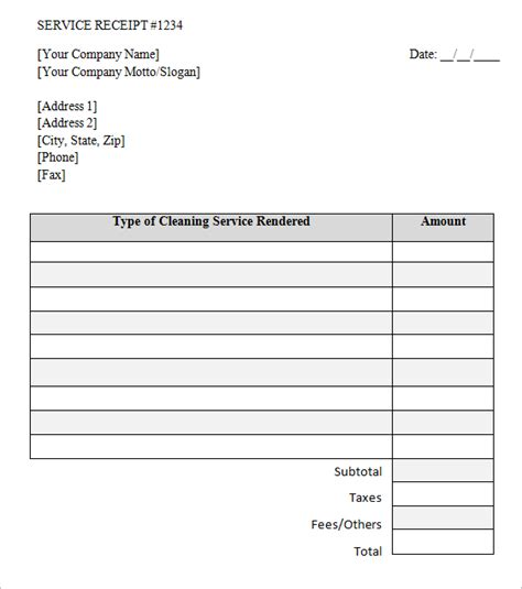cleaning receipt template cleaning service invoice template printable word excel