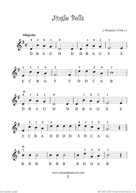 the beginner jingle bells simple notated violin sheet