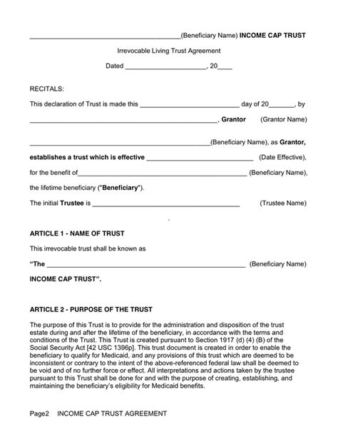 Irrevocable Living Trust Agreement In Word And Pdf Formats Page 2 Of 9 Irrevocable Trust Template