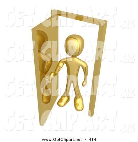 figure open or not 3d clip of a golden figure standing in an open doorway