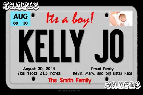 License Plate Custom Birth Announcements Any Wording License Plate Invitation Template