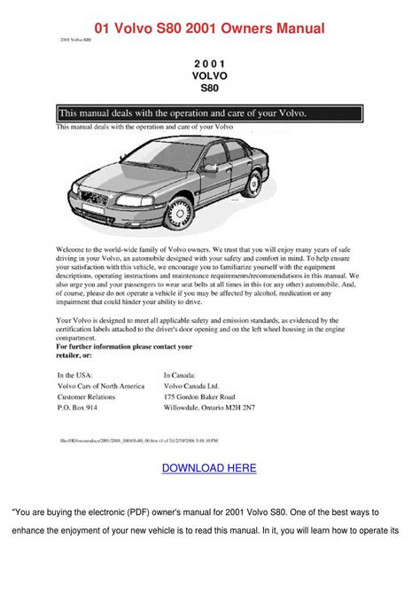 car repair manuals download 2004 volvo s80 parental controls 01 volvo s80 2001 owners manual by marcomacklin issuu