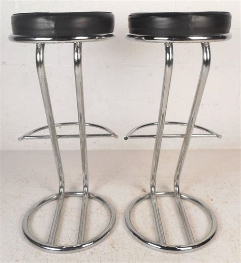chrome leather bar stools pair of mid century modern leather and chrome bar stools