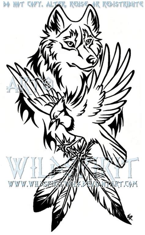 wolf and blue jay tattoo by wildspiritwolf on deviantart