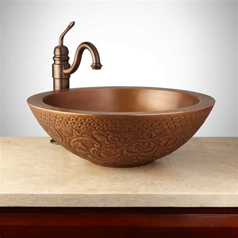 Mahala Round Embossed Copper Double Wall Vessel In