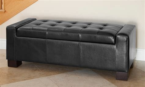 bonded leather storage bench tufted leather storage ottoman groupon goods