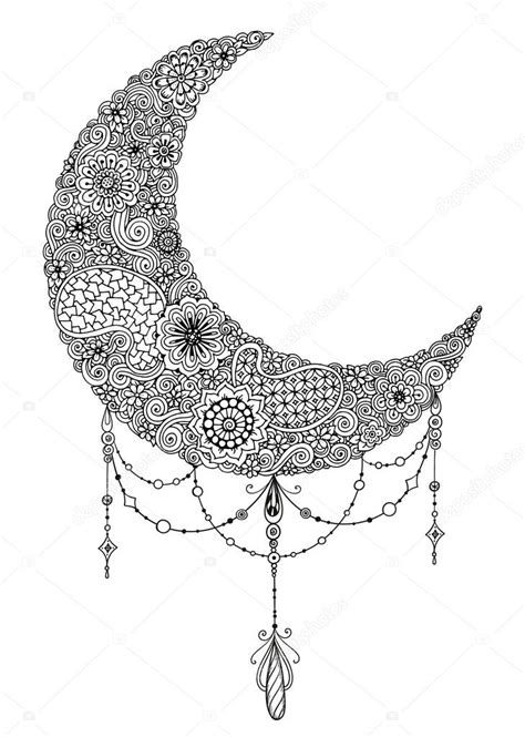 hand drawn moon with flowers mandalas and paisley black