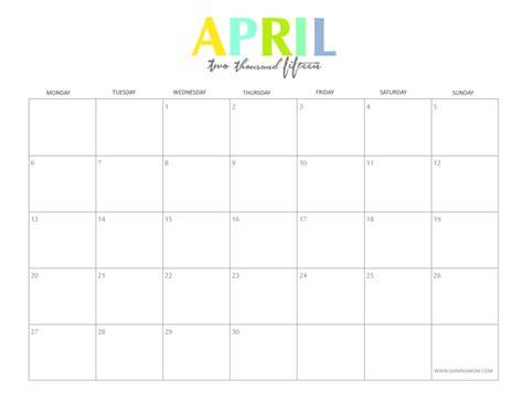 printable monthly calendar april 2015 blank april 2015 calendar printable