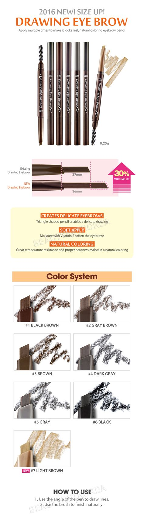 Etude House Drawing Eyebrow New etude house drawing eye brow 0 25g 7 color new best