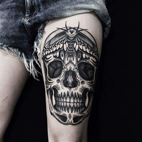 black and grey skull tattoos black and grey skull on back