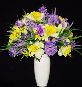 Chinese Vase Stands Silk Flower Arrangement Lavender Hyacinth Amp Yellow Daffodils