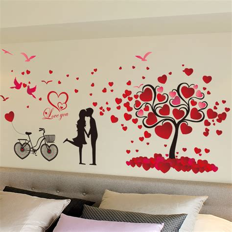 fashion red love heart wall stickers home decor life tree popular valentine room buy cheap valentine room lots from