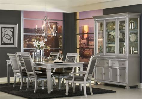 Bevelle 5 Bedroom Set by Bevelle Silver Extendable Dining Room Set From Homelegance