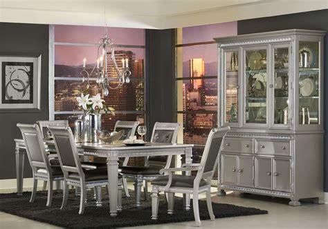 Bevelle 5 Bedroom Set by Bevelle Silver Extendable Dining Room Set From Homelegance