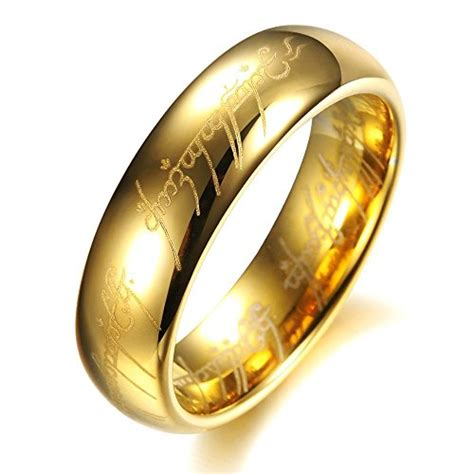 high end lord of the rings gold color tungsten carbide