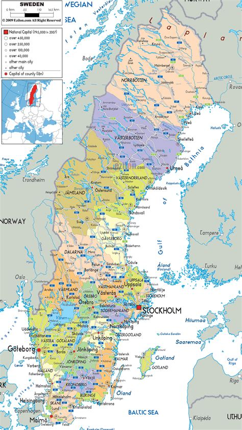 political map of scandinavia political map of sweden ezilon maps