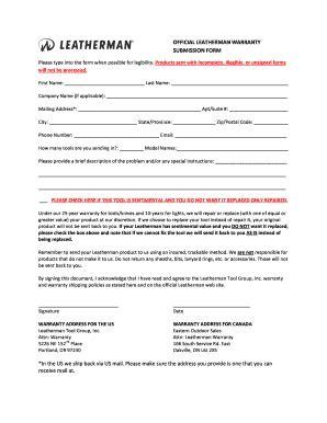 tool warranty repair leatherman warranty repair form pdffiller